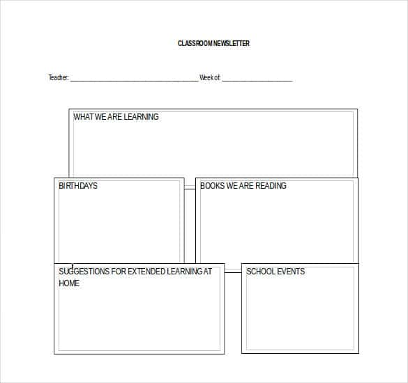 free classroom newsletter template word