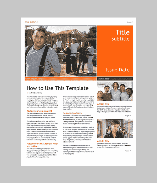 ms word templates newsletter