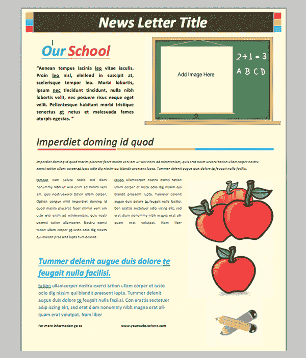 School Newsletter Template Has A Light Tone And Works Perfectly With Any  Device, Mobile, Tablet Or Desktop. This Newsletter Design Template Free  Download ...  Microsoft Word Newsletter Templates Free Download