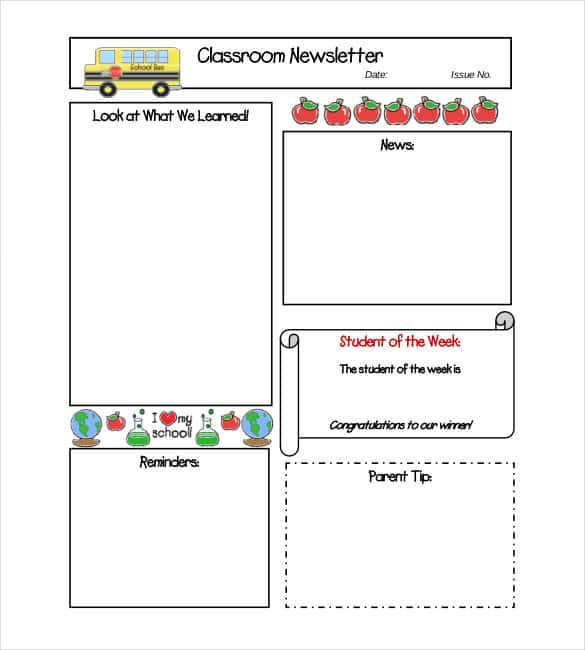 Middle School Classroom Newsletter Template