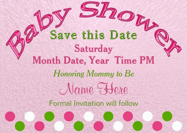 baby shower save the date card