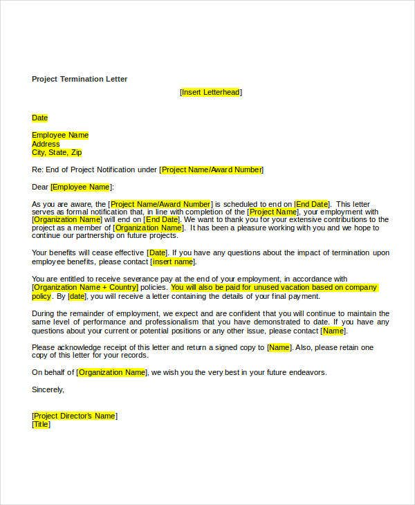 sample project termination letter1