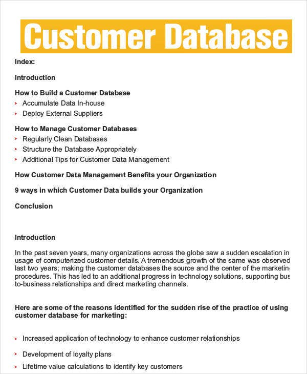 Customer Database Template