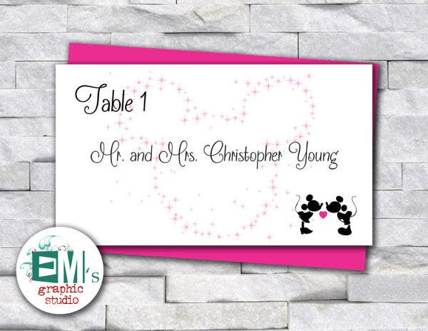 disney wedding place card