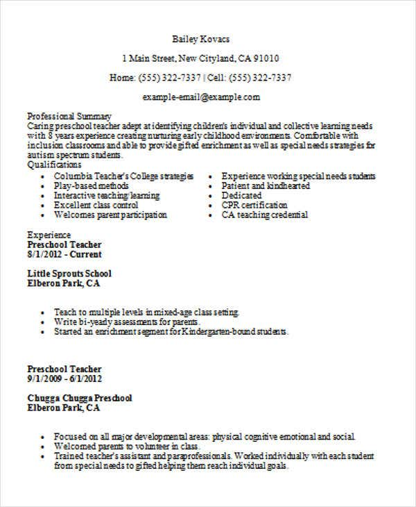 best preschool teacher resume