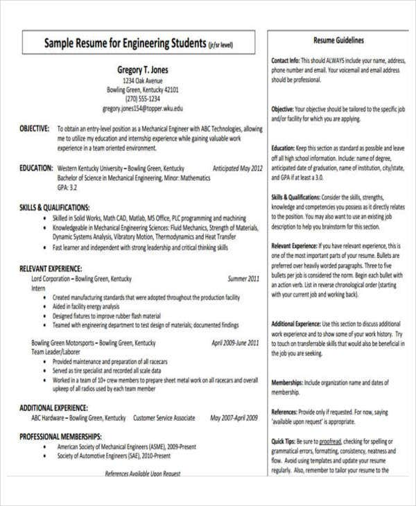Mechanical Engineering Resume Template Mechanical Engineering