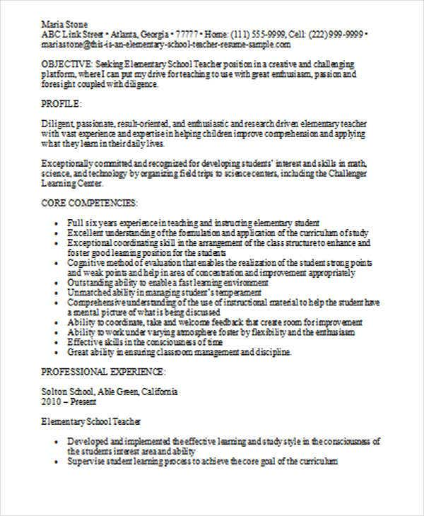 experienced elementary teacher resume template