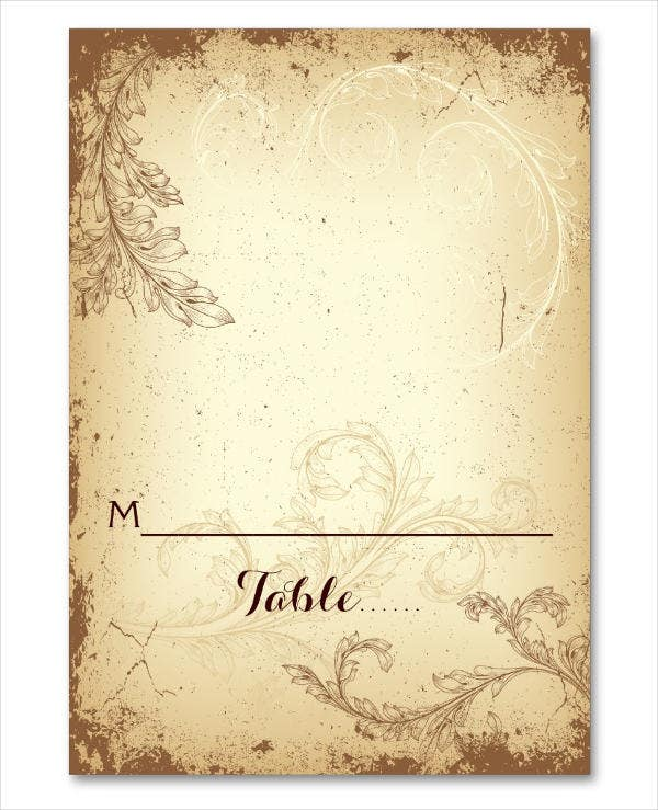 Blank Vintage Wedding Place Card