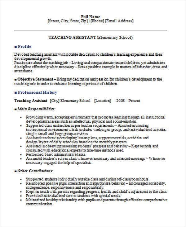 elementary teacher assistant resume