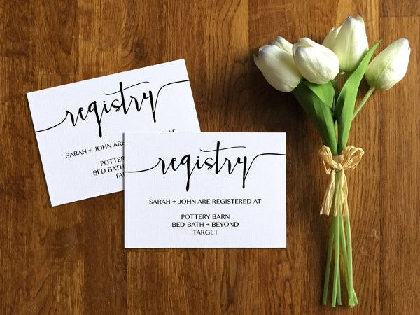 wedding registry announcement cards