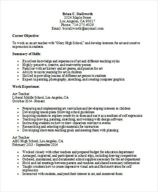 35 printable teacher resume templates free premium for Sample resume for art and craft teacher