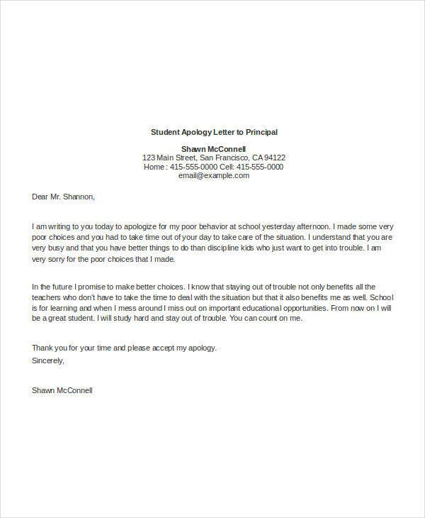 student apology letter to principal