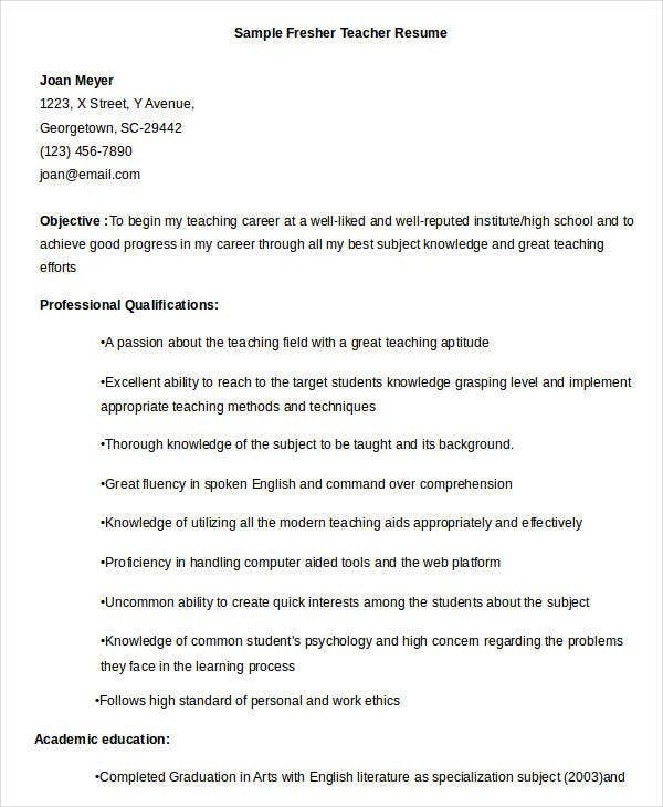 23 professional teacher resume templates pdf doc for Sample resume for teaching profession for freshers