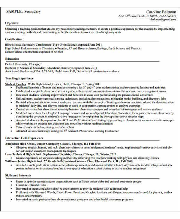 College Teacher Objective Resume