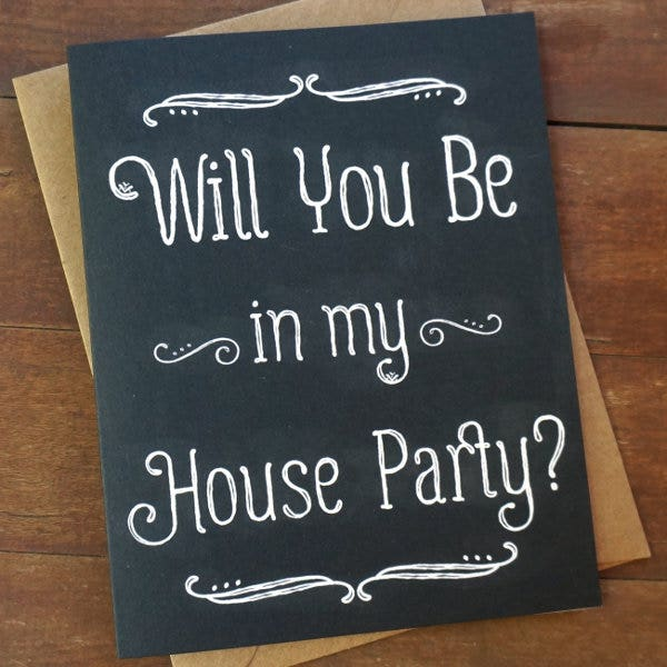 wedding house party cards