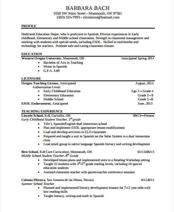 Download Teachers Resume Template Word Teacher Format Doc Free Cv  Elementary Templates Experienced  Free Resume Template Download For Word