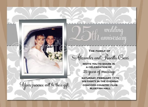 -Wedding Anniversary Invitation Card