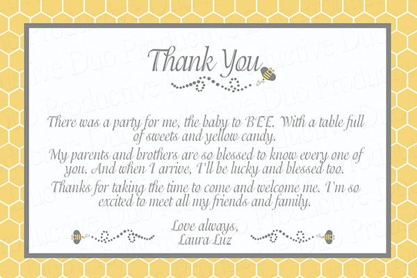 thank you wedding party cards