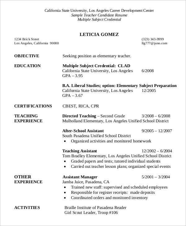 Sample Teacher Candidate Resume