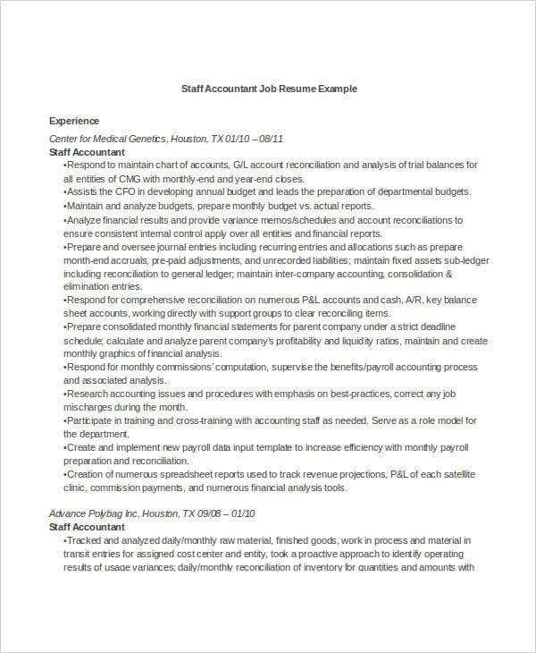 best staff accountant job resume resume examples for accounting jobs - Staff Accountant Resume Sample