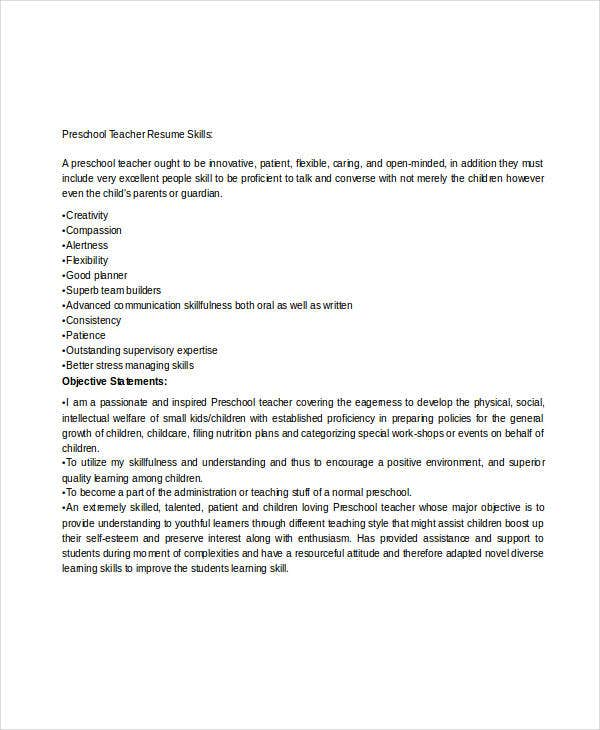 Pre School Teacher Resume Examples. Pre School Teacher Objective
