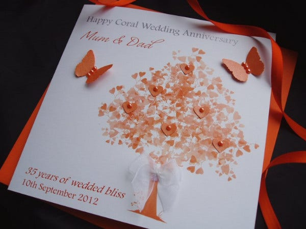 -Coral Wedding Anniversary Card