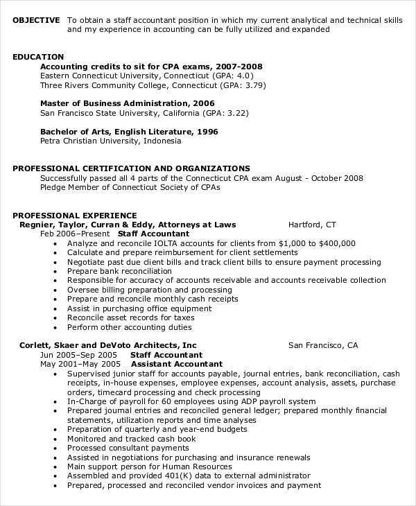 Staff Accountant Job Resume  Staff Accountant Resume Examples
