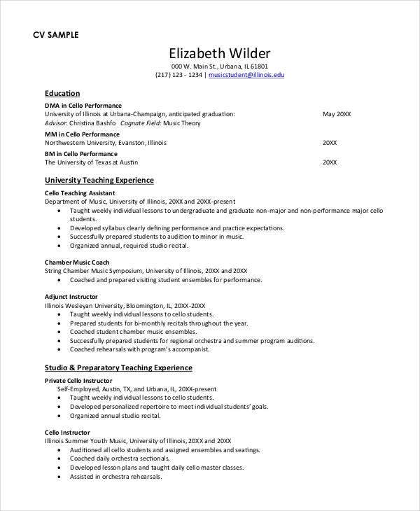 Music Teacher Cv Resume