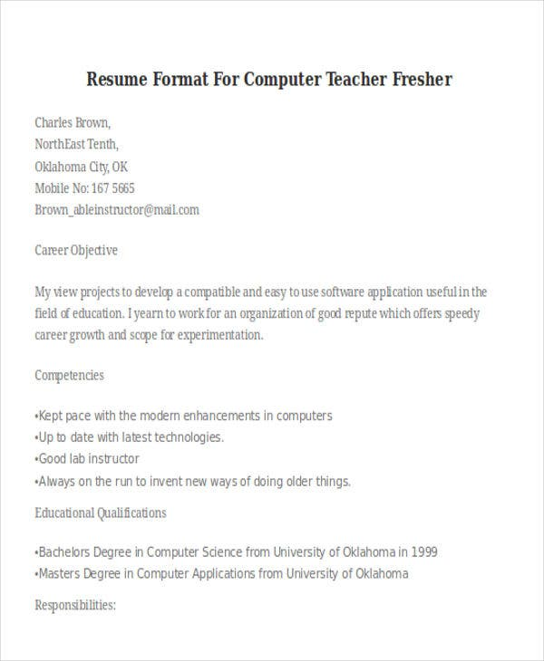 Computer Teacher Fresher Format