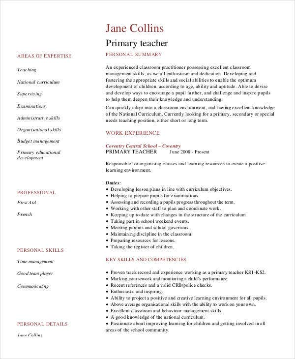 Primary Teacher Resume Pdf