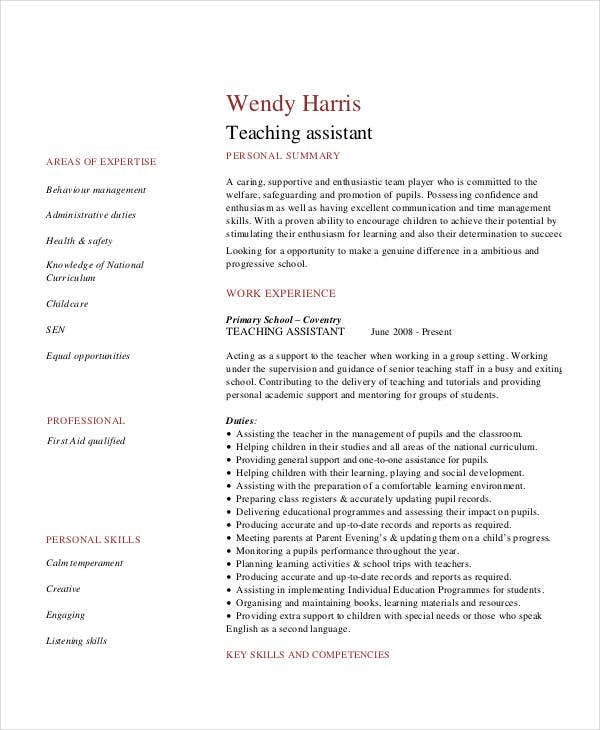Teacher Assistant Format In PDF  Teacher Assistant Resume