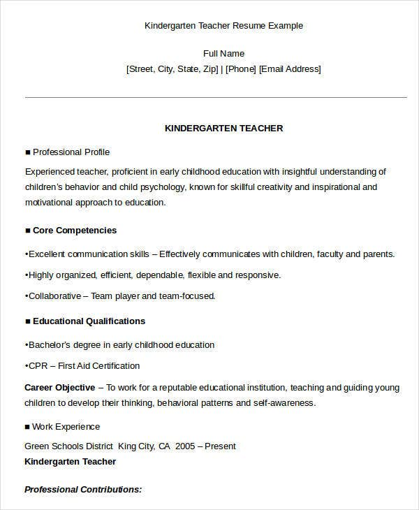 Professional Experience Teacher Resumes Kindergarten Resume Example