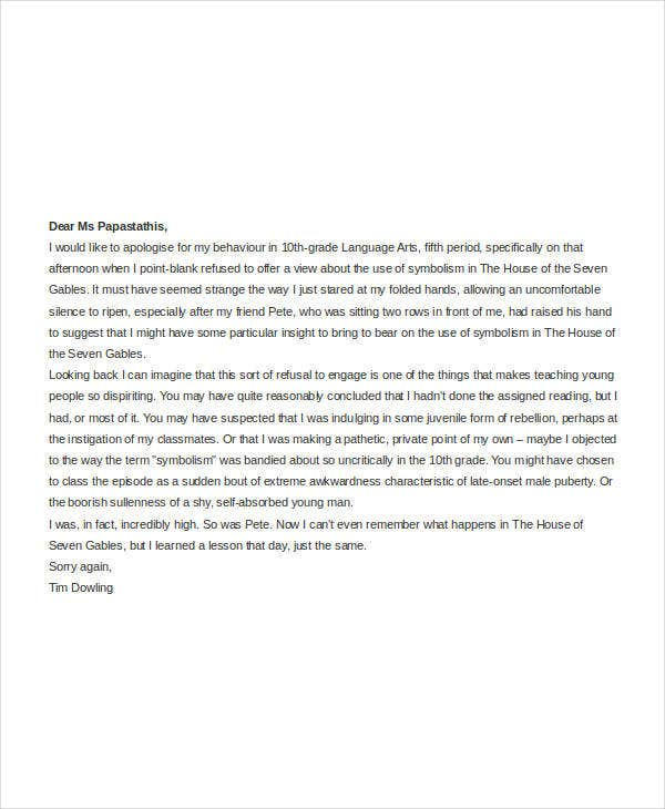 apology letter to teachers Korestjovenesambientecasco