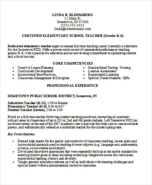 Best Elementary Teacher Resume Templates School