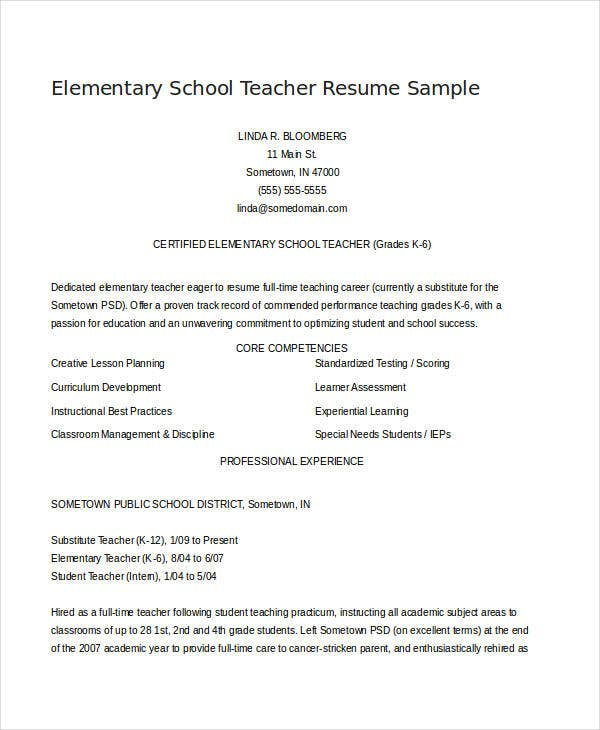 Sample Elementary School Teacher  Elementary Teacher Resume Samples