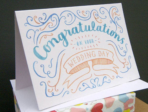 -Handmade Wedding Congratulations Card