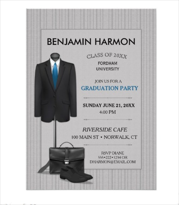 business card graduation invitation