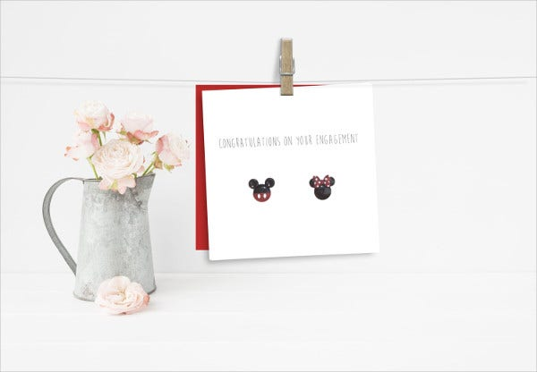 -Disney Engagement Congratulations Card