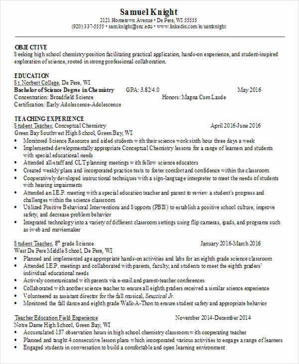best elementary teacher resume example