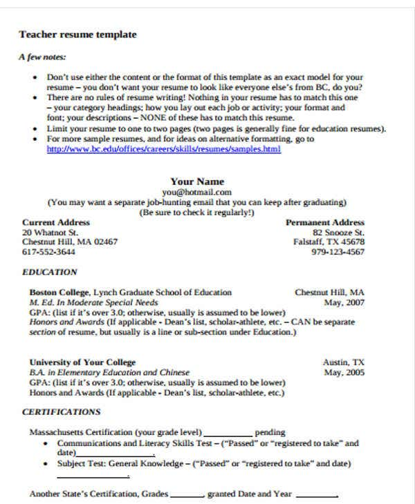 Free Professional Teacher Template  Teacher Resume Templates