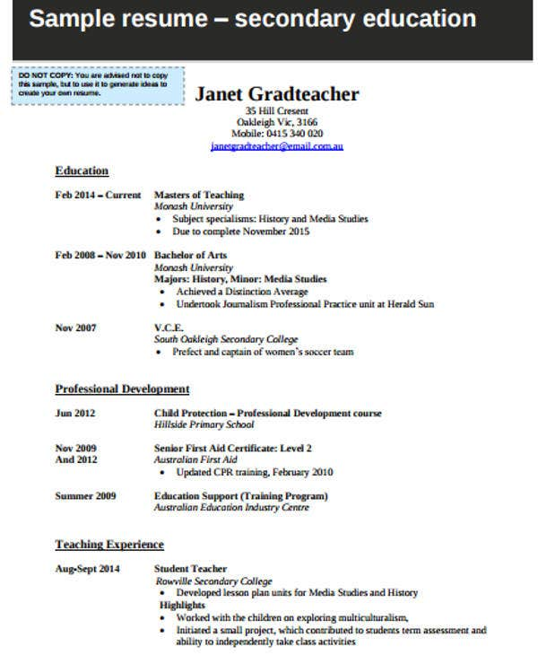 Resume Resume Example Monash monash uni resume template sample designer 10 documents in 41 modern teacher resumes free premium templates