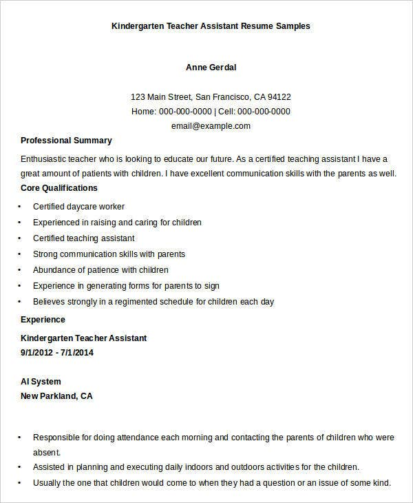 Sample Kindergarten Teacher Assistant Resume