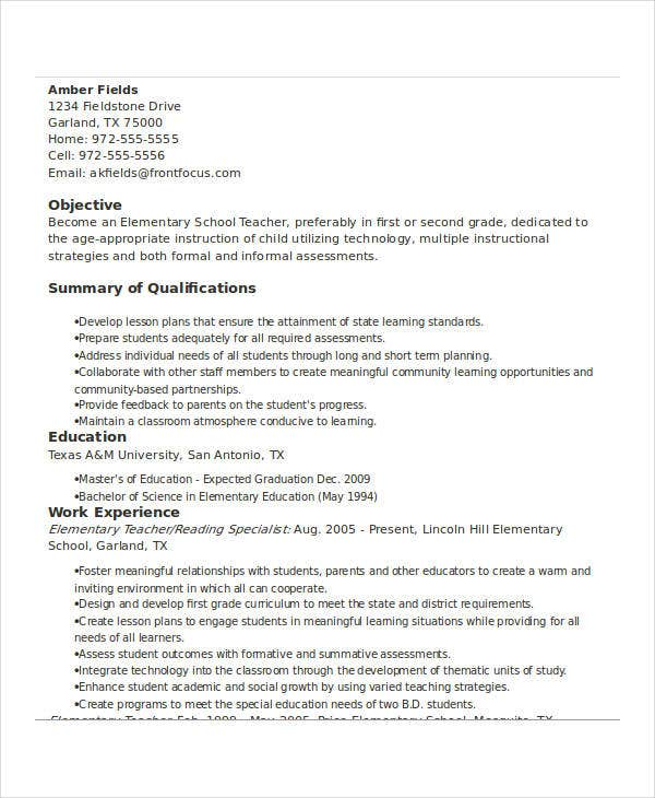 Basic Teacher Resumes -31+ Free Word, Pdf Documents Download