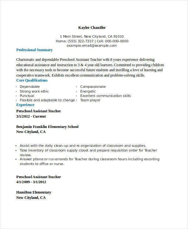 resume for kindergarten assistant