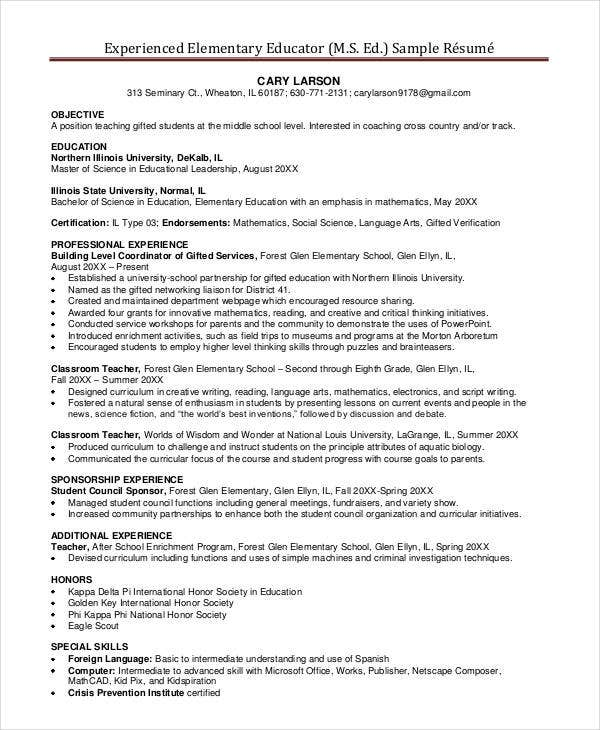 experienced elementary school teacher resume