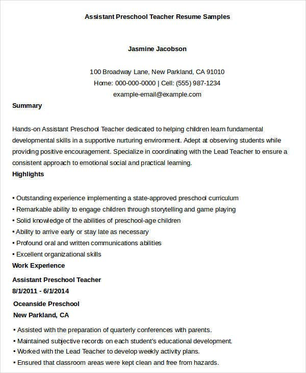 Assistant Preschool Teacher Resume Sample