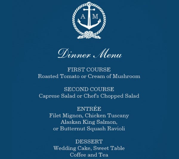 -Wedding Reception Menu Card