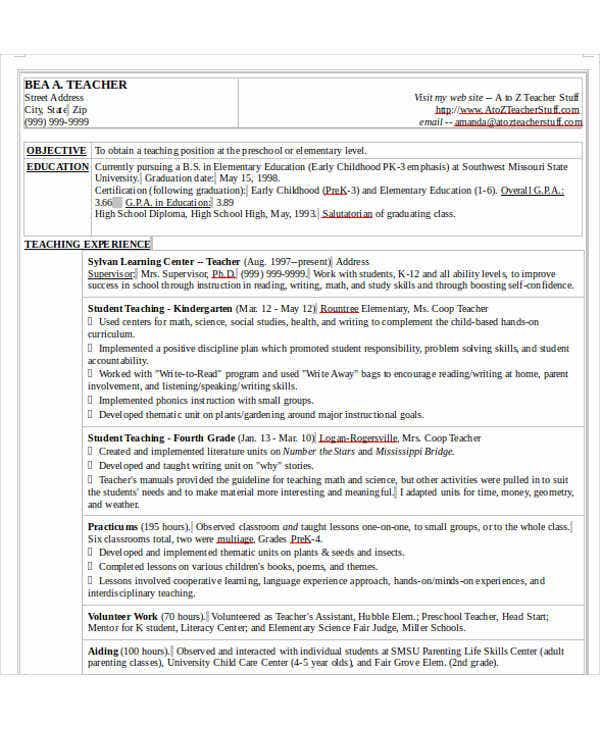 elementary student teacher resume examples teaching college graduate samples nursery template objective for
