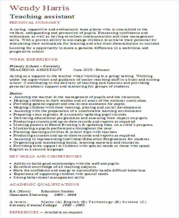 best teaching assistant resume