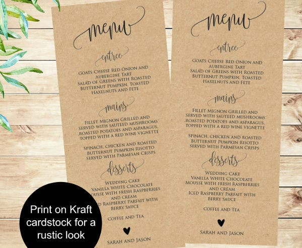 -Wedding Menu Card Wording